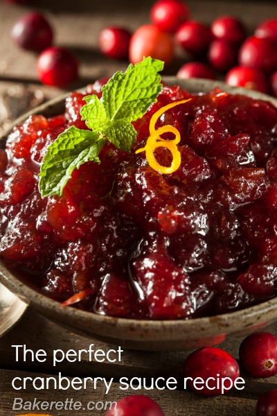 Cranberry Sauce by www.bakerette.com on www.cookingwithruthie.com #recipes #holidays #cranberries