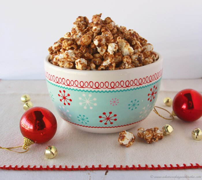 Christmas Recipe - Gingerbread Popcorn will make your winter family movie nights a hit! by www.cookingwithruthie.com #recipes #holidays #dessert