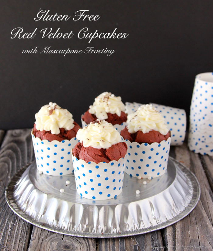 Gluten Free Red Velvet Cupcakes with Mascarpone Frosting by www.cookingwithruthie.com #glutenfree #redvelvet #dessert