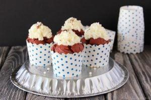 Gluten Free Red Velvet Cupcakes with Mascarpone Frosting by www.cookingwithruthie.com #glutenfree #redvelvet #dessert