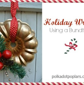 Kitchen Holiday Wreath is adorable for your kitchen this year! by www.polkadotpoplars.com on www.cookingwithruthie.com #holiday #wreath #craft