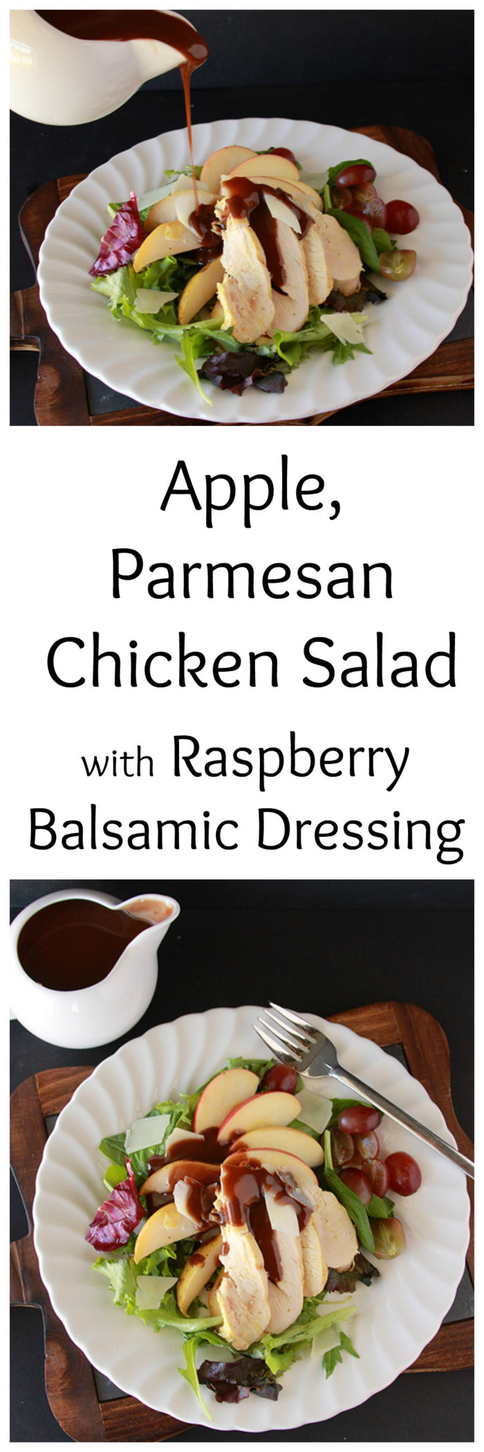 Apple, Parmesan Chicken Salad with Raspberry Balsamic Dressing on www.cookingwithruthie.com