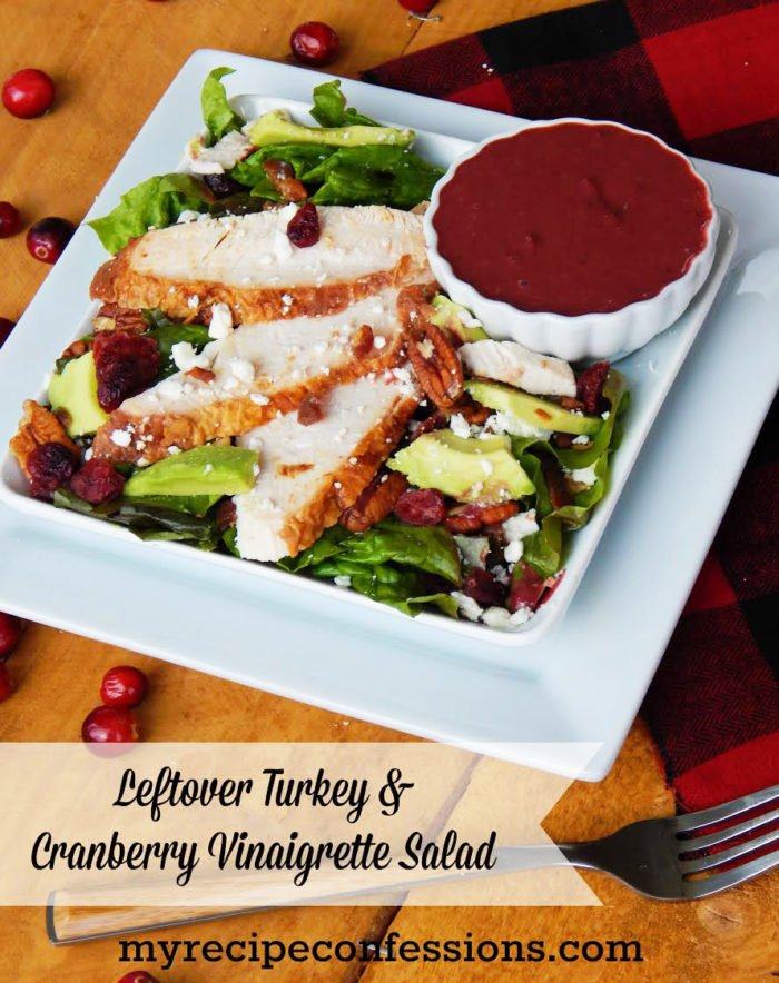 Leftover Turkey and Cranberry Vinaigrette Salad by www.myrecipeconfessions.com on www.cookingwithruthie.com #recipes #turkey #cranberry