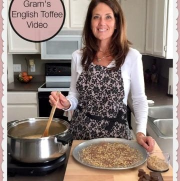 Gram's English Toffee video will inspire you to want to make your own! by www.cookingwithruthie.com #video #tutorial #recipe