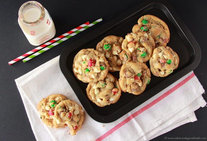 Holiday Cadbury Chip Cookies by www.cookingwithruthie.com #holidays #recipe #chocolate
