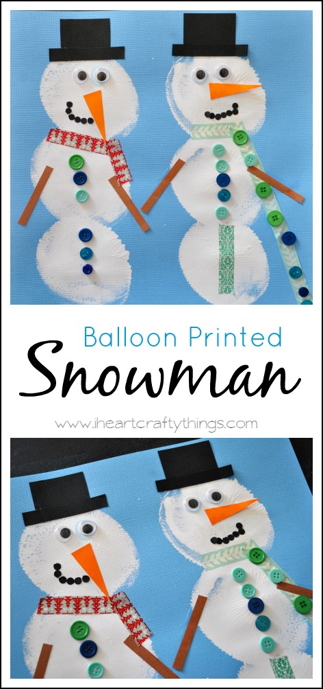 Balloon Printed Snowman is so much fun to make with your kids! by www.iheartcraftythings.com on www.cookingwithruthie.com #craft #holidays