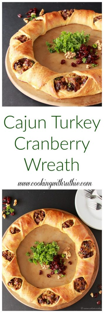 Cajun Turkey Cranberry Wreath on www.cookingwithruthie.com a delicious way to use up turkey leftovers!