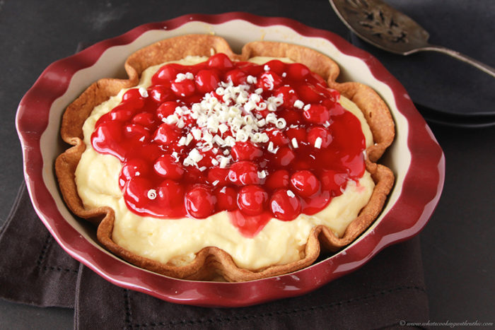Cherry White Chocolate Cream Pie is a deliciously simple dessert to enjoy with your family and friends! by www.cookingwithruthie.com #recipes #luckyleaf #pie