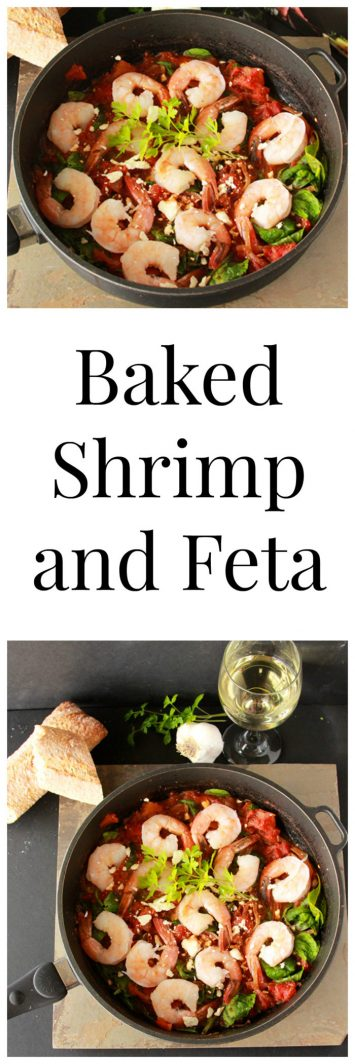 Baked Shrimp and Feta on www.cookingwithruthie.com is quick and easy to throw together for an evening meal.
