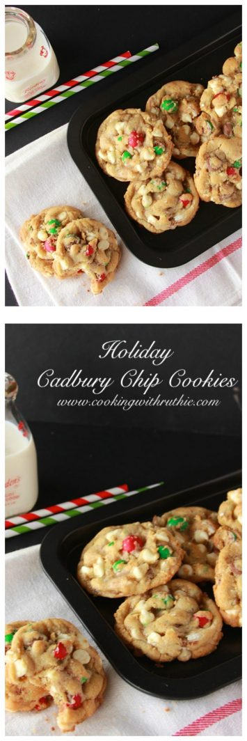 Holiday Cadbury Chocolate Chip Cookies on www.cookingwithruthie.com will be a holiday favorite!