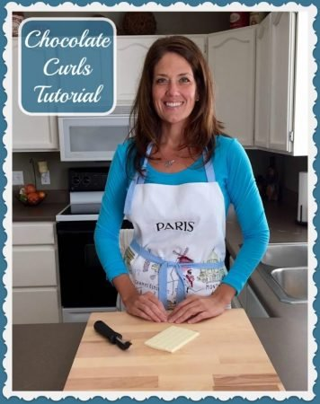 Chocolate Curls Tutorial a simple way to garnish your desserts! by www.cookingwithruthie.com #desserts #video #tutorial