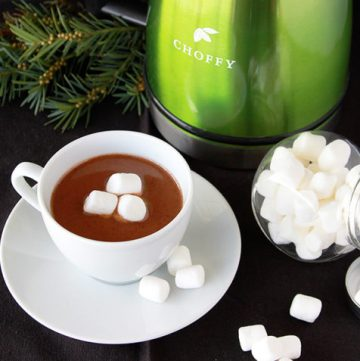 """Decadent """"Hot Chocolate"""" Choffy is the perfect way to to stay comfy cozy this winter! by www.cookingwithruthie.com"""