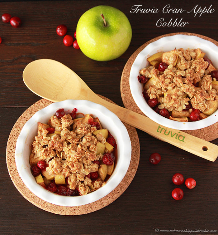 Truvia Cran-Apple Cobbler is a sure way to please your sweet tooth with less calories! by www.cookingwithruthie.com