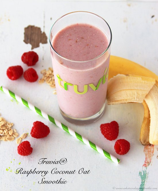 Truvia Raspberry Coconut Oats Smoothie is a healthy way to start the day! by www.cookingwithruthie.com #smoothies #recipes