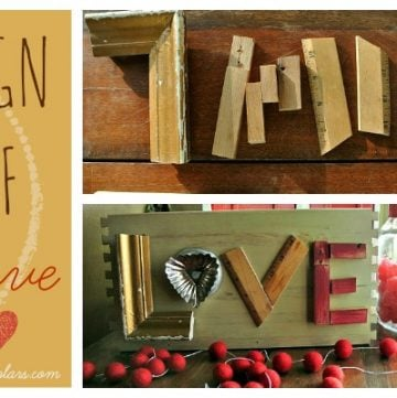 Sign of Love is an adorable DIY craft for your house this valenitnes by www.polkadotpoplars.com on www.cookingwithruthie.com