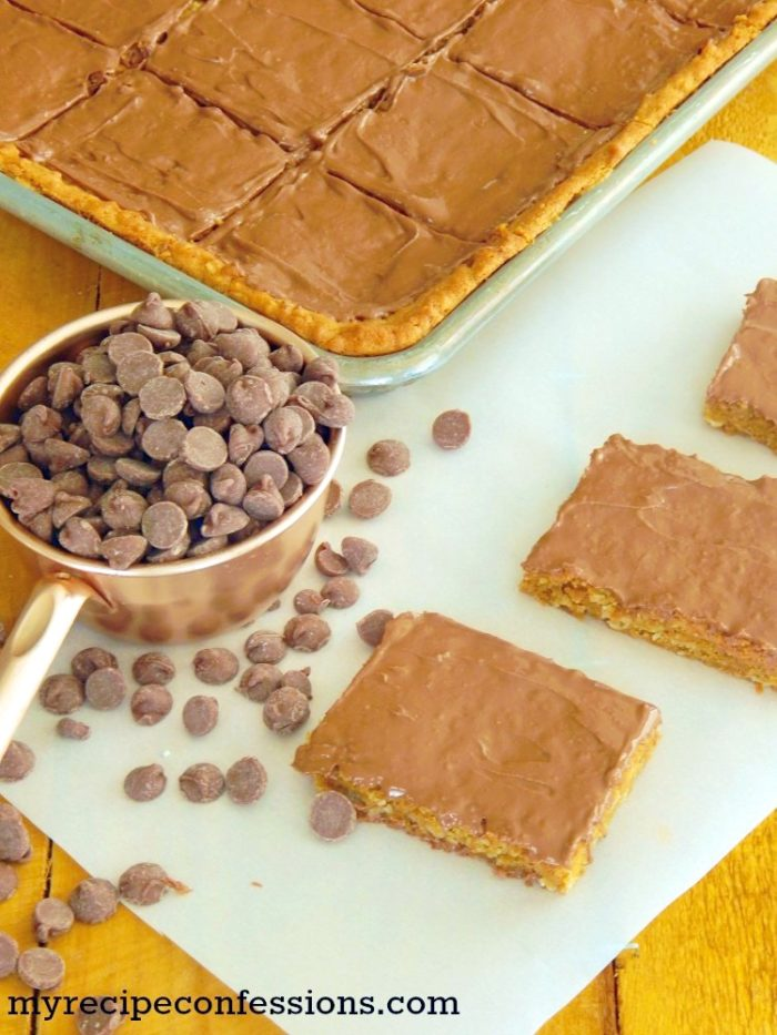 Lunch Lady Peanut Butter Bars are just what you remember from elementary school by www.myrecipeconfessions.com on www,cookingwithruthie.com