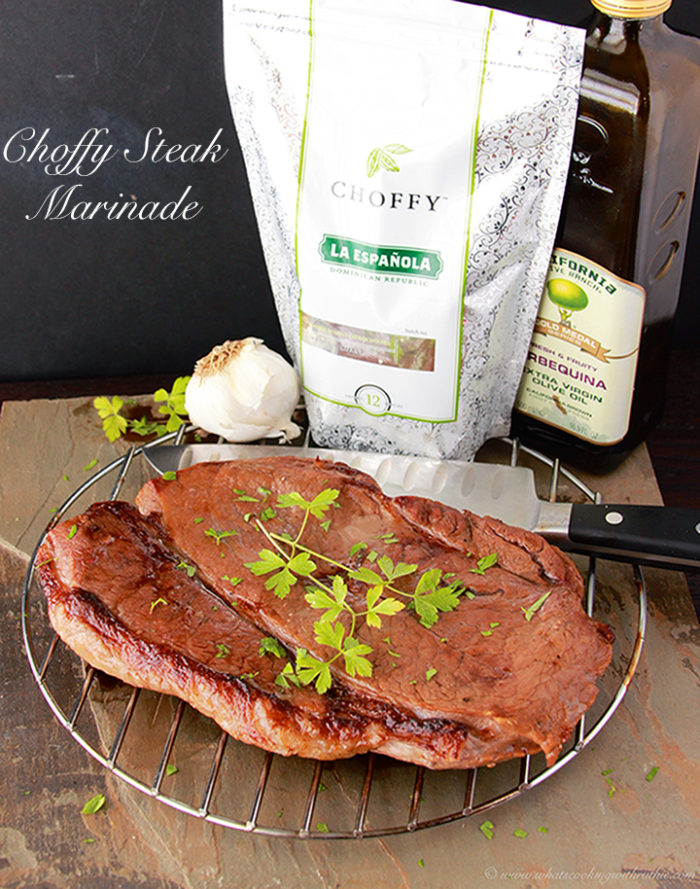 Choffy Steak Marinade is a delicious way to enjoy steak indoors! by www.cookingwithruthie.com