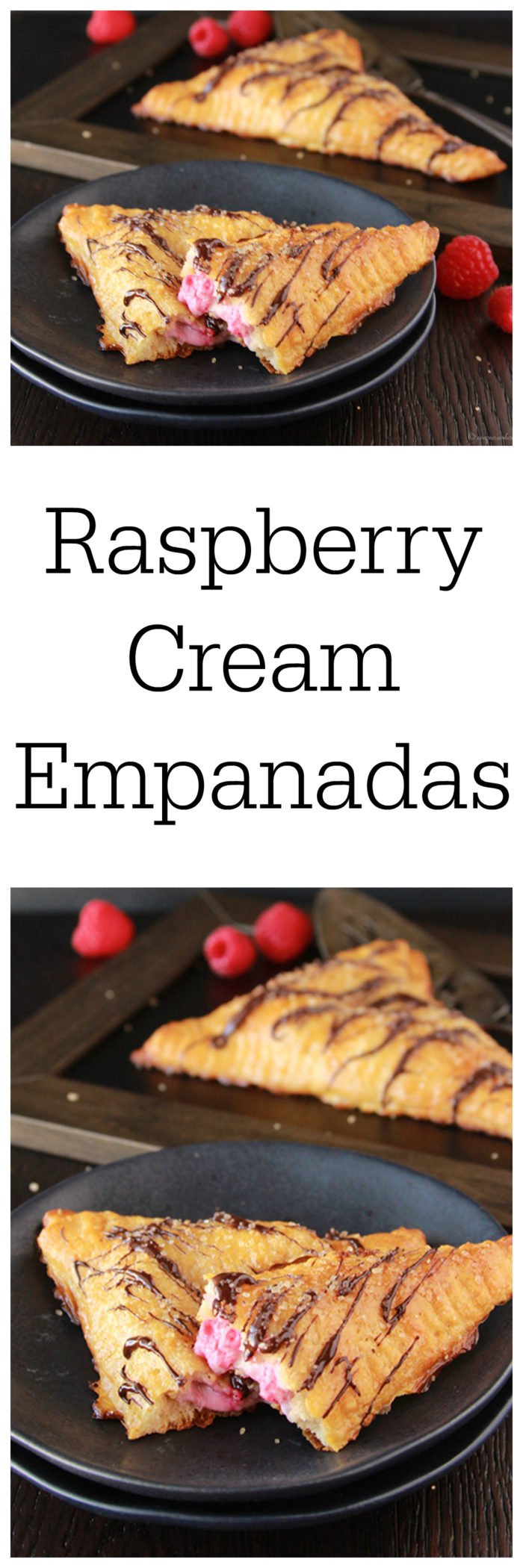 Raspberry Cream Empanadas are every bit as good as they look! Flakey pastry outside with raspberry cream inside AND then drizzled with chocolate! on www.cookingwithruthie.com