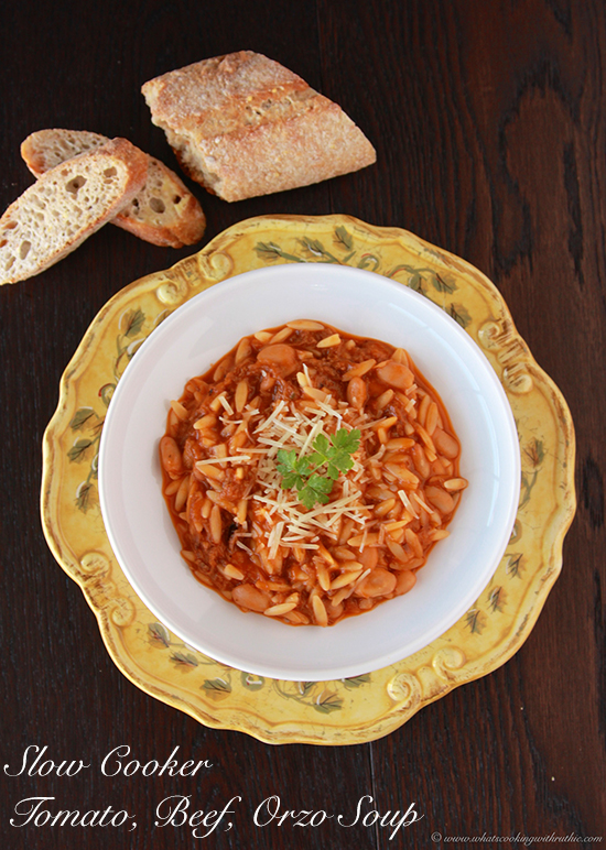 Slow Cooker Tomato, Beef, Orzo Soup from www.cookingwithruthie.com will keep you warm and toasty this winter!