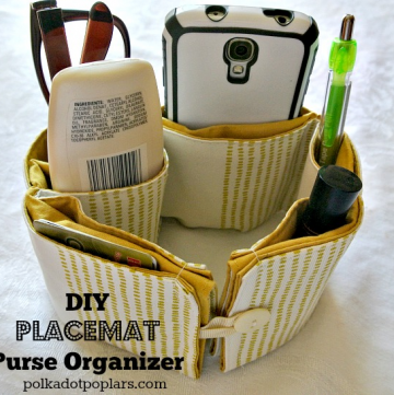 DIY Placemat Purse Organizer by www.polkadotpoplar.com on www.cookingwithruthie.com