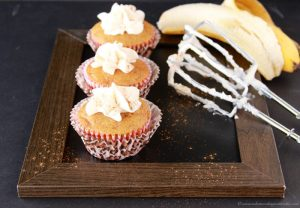 Banana Cupcakes with Cream Cheese Frosting by www.cookingwithruthie.com you'll never wonder what to do with your over ripe bananas again! YUM.