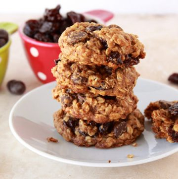 Healthy Cherry Chocolate Oat Cookies by www.cookingwithruthie.com taste Soooo good and the best part? They don't taste like it!