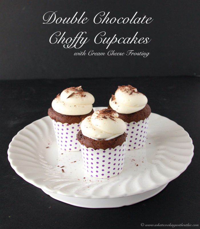 Double Chocolate Choffy Cupcakes with Cream Cheese Frosting by www.cookingwithruthie.com are a decadent little cake will make you happy!