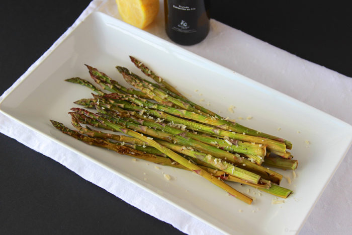 Oven Roasted Parmesan Asparagus on www.cookingwithruthie.com a savory side dish!