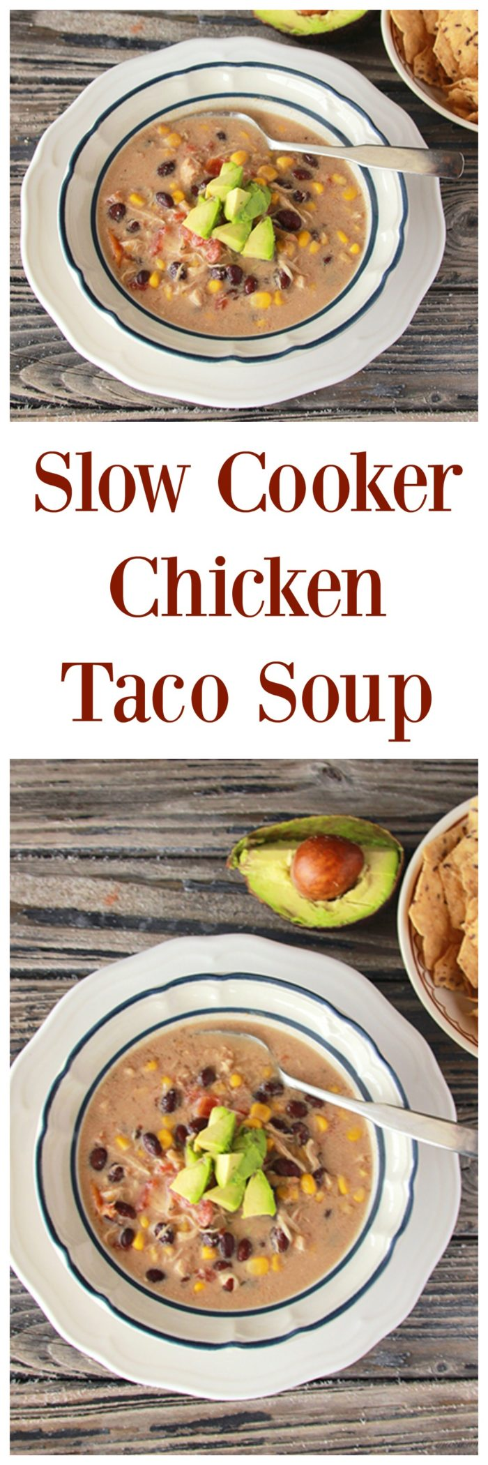 Slow Cooker Chicken Taco Soup on www.cookingwithruthie.com is a quick and easy weeknight dinner!