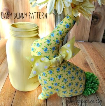 Easy Bunny Pattern by www.polkadotpoplars.com on www.cookingwithruthie.com make your own easter bunny this year!