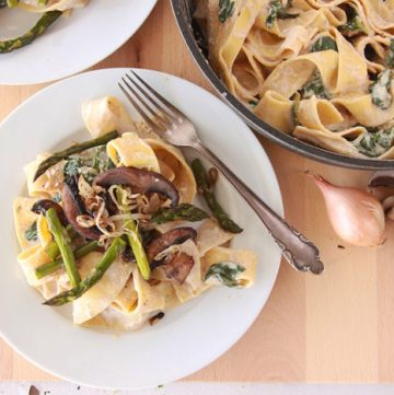Pappardelle with Roasted Asparagus Mushroom on www.cookingwithruthie.com is a simple delicious dinner!