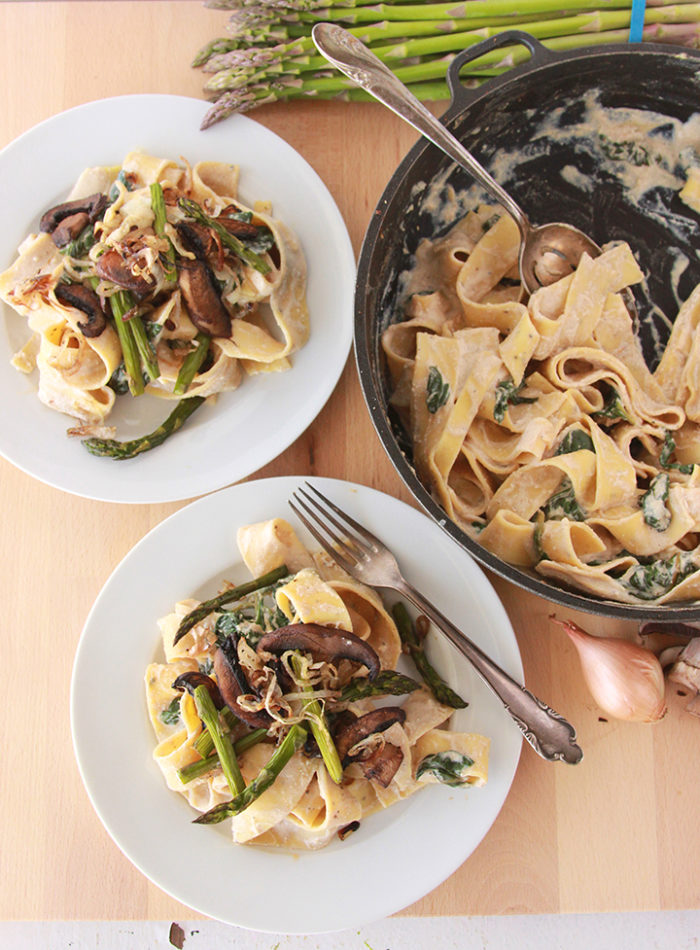 Our Pappardelle with Asparagus, Mushroom, and Ricotta Recipe is as easy as 1-2-3! by cookingwithruthie.com