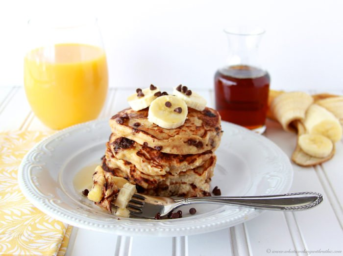 Banana Chocolate Chip Pancakes by www.cookingwithruthie.com are made with greek yogurt and taste amazing!