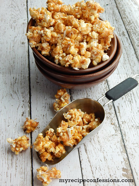 Toasted Coconut Caramel Popcorn by www.myrecipeconfessions.com on www.cookingwithruthie.com is a delicious dessert!