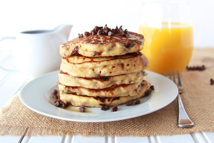 Chocolate Chip Pancakes with Choffy Syrup on www.cookingwithruthie.com is a delicious way to start your day!