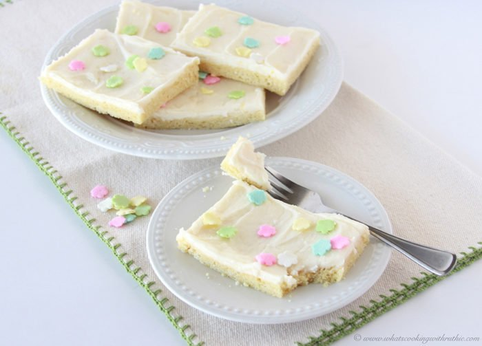 Our Lemon Sugar Cookie Bars Recipe are amazing--you need this deliciousness in your life! by cookingwithruthie.com