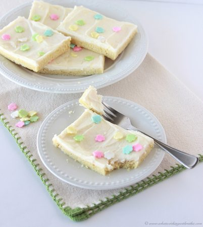 Lemon Sugar Cookie Bars on www.cookingwithruthie.com you need this deliciousness in your life!