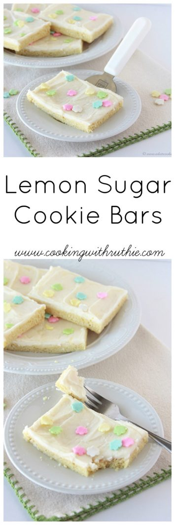 Lemon Sugar Cookie Bars on www.cookingwithruthie.com a delightful spring-time treat the family will fall head-over-heels in love!