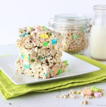 Lucky Charms Marshmallow Treats on www.cookingwithruthie.com a quick and easy way to celebrate St. Patricks Day!