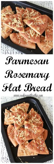 Parmesan Rosemary Flat Bread on www.cookingwithruthie.com will inspire you to put a fun new spin on a side dish for dinner tonight!