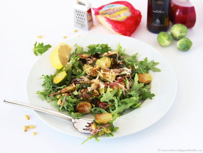 Roasted Brussel Sprout, Red Onion, Pine nut Salad on cookingwithruthie.com is a savory salad that makes a healthy dinner!