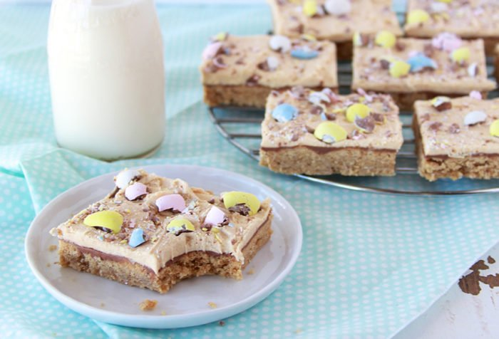 Our Spring Chocolate Peanut Butter Bars will remind you of the lunch lady peanut butter bars you enjoy as a child! by cookingwithruthie.com