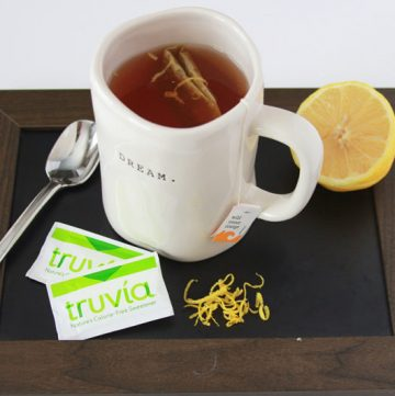 Truvia Lemon Orange Tea on www.cookingwithruthie.com to keep you warm on chilly spring nights!