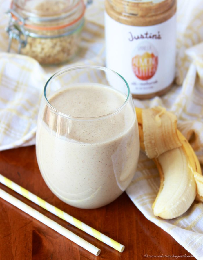 Almond Butter Banana Oat Smoothies by www.cookingwithruthie.com is healthy and delicious beverage anytime of day!