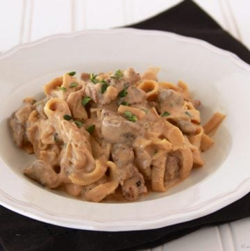 Culinary Arts Beef Stroganoff by www.cookingwithruthie.com comfort food like no other! Yum.