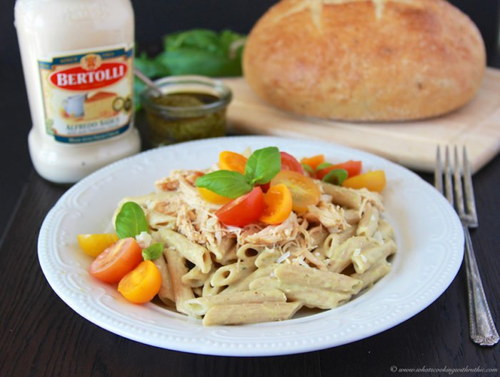 Today's Spring Chicken Pesto Alfredo Penne Recipe is a quick and easy idea for dinner tonight! by cookingwithruthie.com