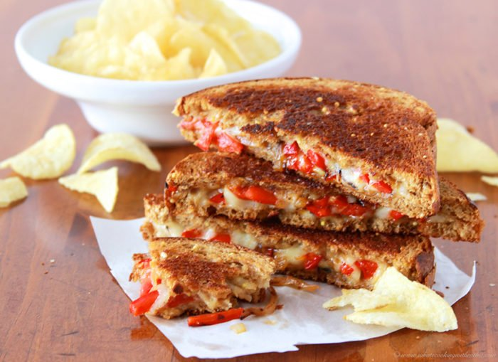 Red Pepper, Onion, Harvarti Grilled Cheese on www.cookingwithruthie.com is the tasty Grilled Cheese EVER!! Oh my gosh. For Reals!