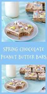 Our Spring Chocolate Peanut Butter Bars will remind you of the lunch lady peanut butter bars you enjoyed as a child, only (dare I say) we think they're better! Today's peanut butter bars are a family favorite that we've loved for decades. They've got a peanut butter cookie base, a layer of chocolate, and then creamy smooth peanut butter frosting! We know it will be a new family favorite for you too!    cookingwithruthie.com #peanutbutterbars #peanutbuttercookies