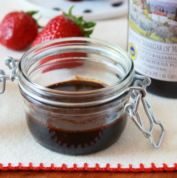 Strawberry Balsamic Reduction by www.cookingwithruthie.com the perfect dipping sauce for your next artisan loaf or sandwich!