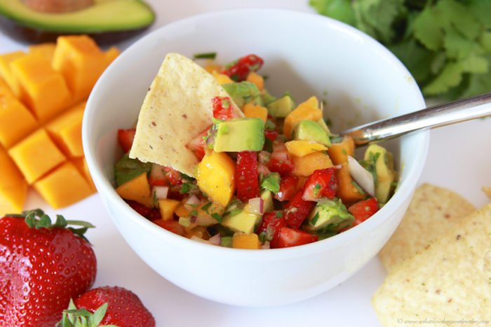 Strawberry Mango Guacamole on www.cookingwithruthie.com is just what your next fiesta needs! YUM.
